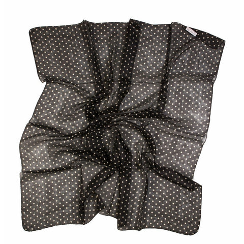 Black Polka Dot Silk Lightweight Scarf  - Melange Chic - 2