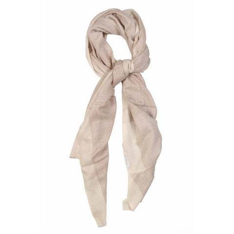 Cream and Gold Self Eri Silk Scarf  - Melange Chic