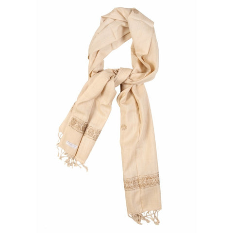 Cream and Gold Border Eri Silk Scarf  - Melange Chic - 1