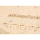 Cream and Gold Border Eri Silk Scarf  - Melange Chic - 2