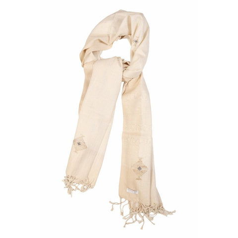 Cream and Gold Motif Eri Silk Scarf  - Melange Chic - 1
