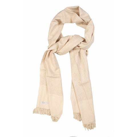 Cream and Gold Stripe Eri Silk Scarf  - Melange Chic - 1