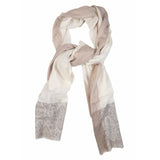 Traditional Cream Jacaqard Cashmere Scarf  - Melange Chic - 1