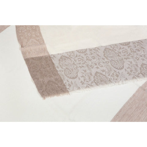 Traditional Cream Jacaqard Cashmere Scarf  - Melange Chic - 3