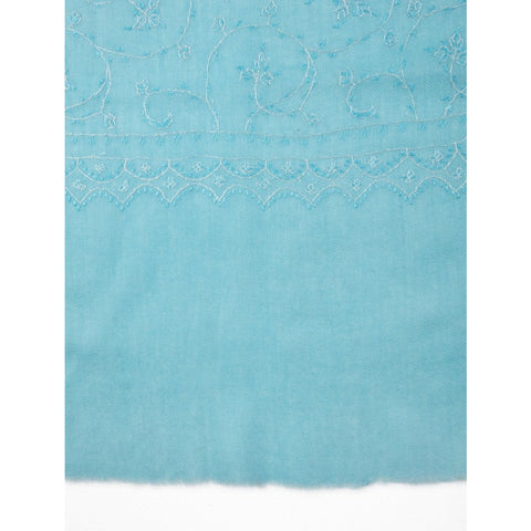 Anila Collection - Maya Blue Kashmir Embroidered Shawl  - Melange Chic - 3