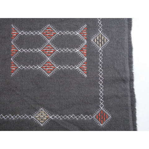 Aztec Dark Grey Wool Embroidered Scarf