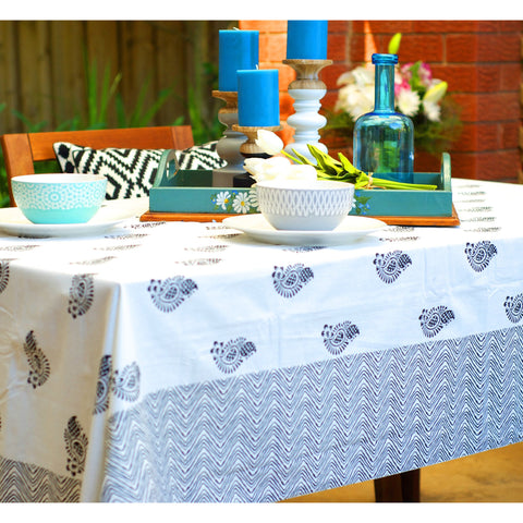 Blanc et Noir - Black & White Blockprint Paisley Tablecloth  - Melange Chic - 1