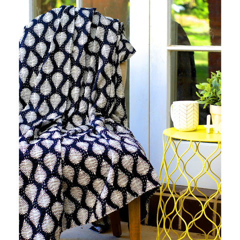 Fern leaf Black and White Blockprint Kantha Quilt / Throw / Tablecloth  - Melange Chic - 4