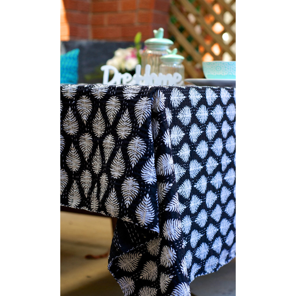 Fern leaf Black and White Blockprint Kantha Quilt / Throw / Tablecloth  - Melange Chic - 1