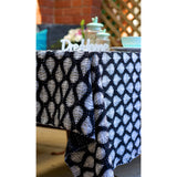 Fern leaf Black and White Blockprint Kantha Quilt / Throw / Tablecloth  - Melange Chic - 2