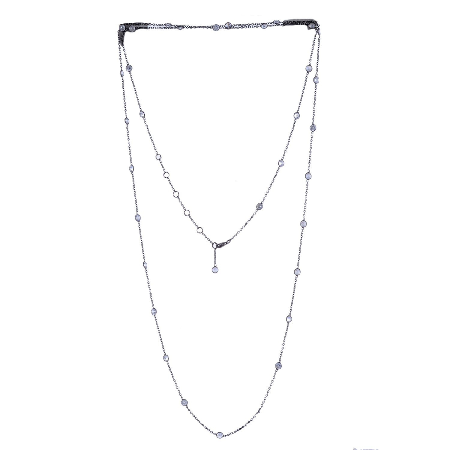 Sterling Silver Cubic Zirconia Longstation Necklace