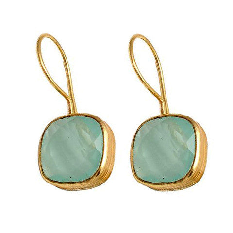 Azalea - Gold Vermeil and Aqua Chalcedony Earrings  - Melange Chic - 2