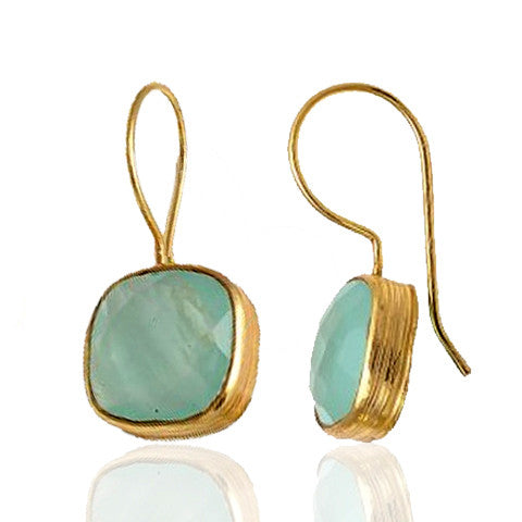 Azalea - Gold Vermeil and Aqua Chalcedony Earrings  - Melange Chic - 1