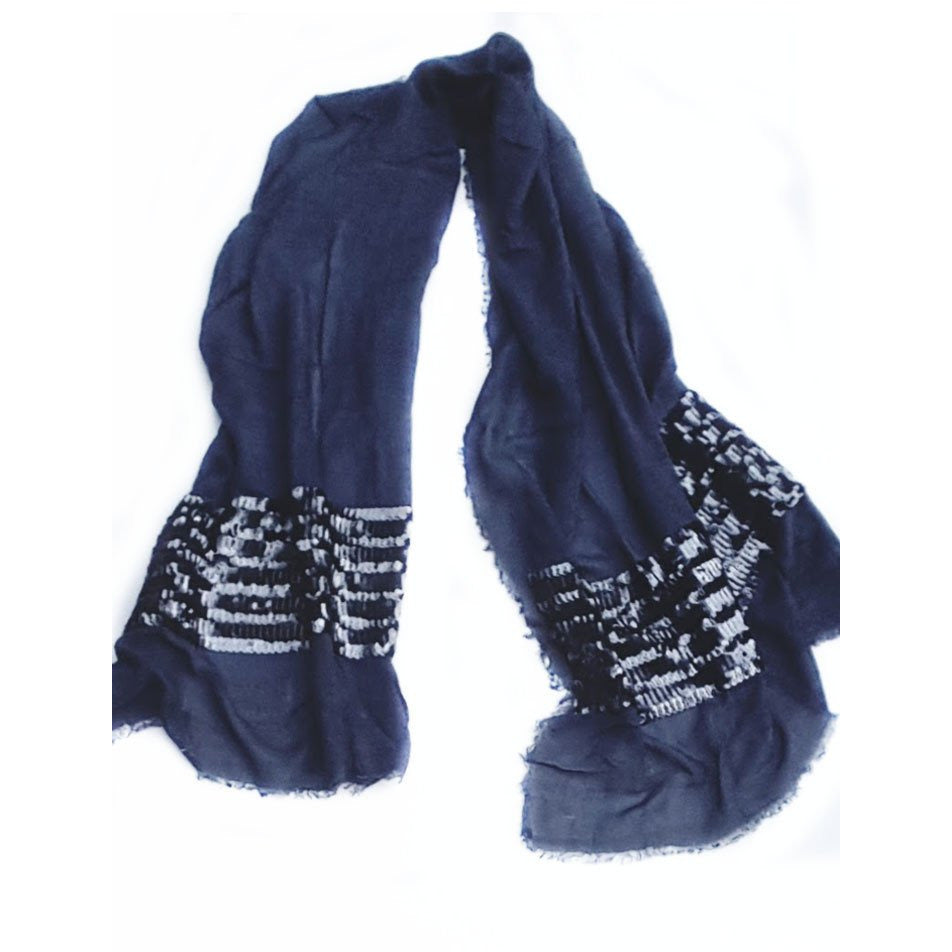 Blue Grey Sequence Wool Lightweight Scarf