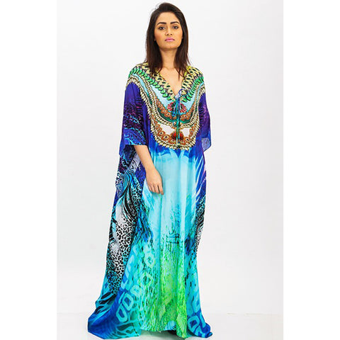 Blue Nadia - long Kaftan