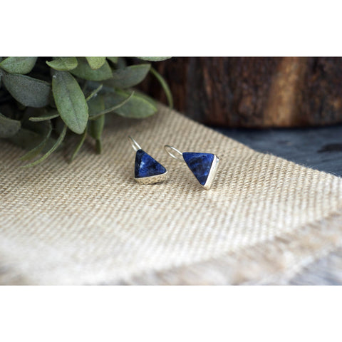 Triangle Blue Soladite Silver Earring  - Melange Chic - 1