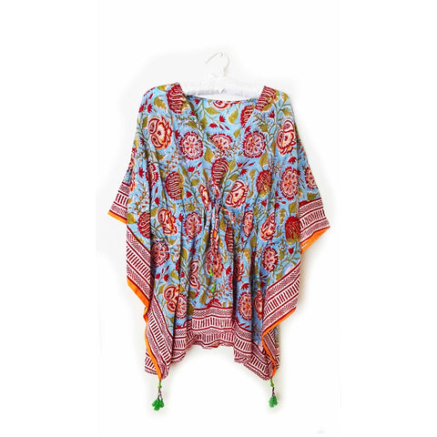 Blue & Red Boho Cotton Kaftan