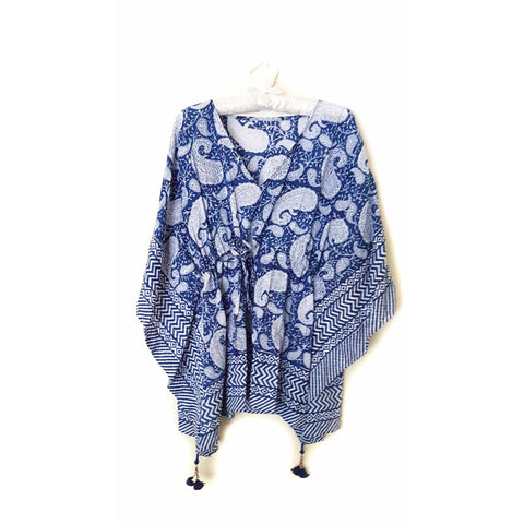 Blue & White Paisley Cotton Kaftan