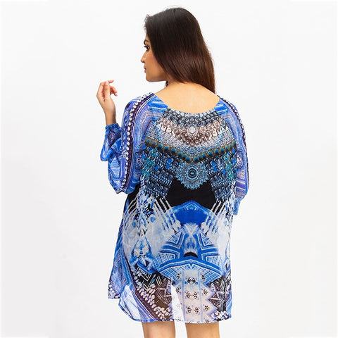 Aztec Blue Sheer - Short Kaftan