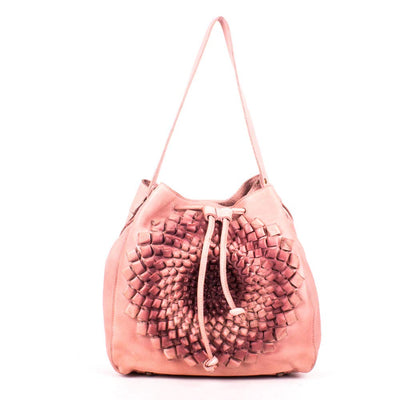 Art n Vintage Women's Blush Pink Leather 3D Flower Bucket bag
