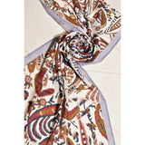 A Cream and Brown Organic Print Scarf