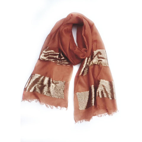 Burnt Sienna Sequence  Lightweight Scarf