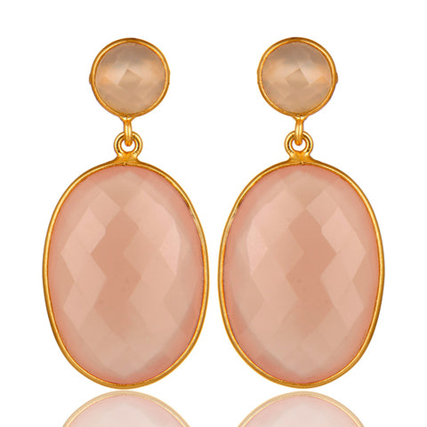 Rose Chalcedony Gemstone 18K Gold Plated Drop Earrings