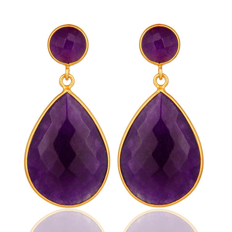 Purple Amethyst Chalecdony Gemstone 18K Gold Plated Drop Earrings