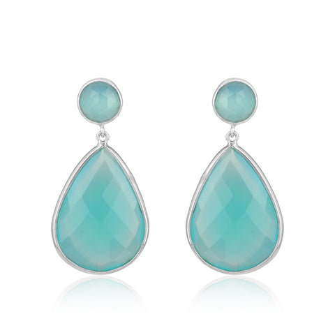 Classic Aqua Chalcedony Teardrop Earrings in White gold finish