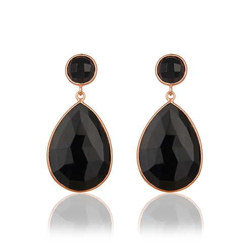 Classic Black Onyx Teardrop Earrings in Rose gold finish