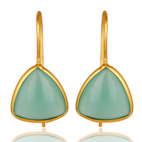 Aqua Blue Chalcedony Gemstone 925 Sterling Silver Drop Earring
