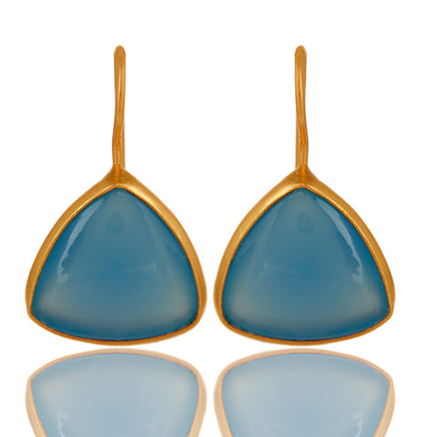 Blue Chalcedony Gemstone 925 Sterling Silver Drop Earring