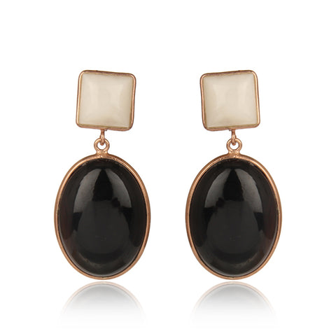 Bold Earrings with White and Black Agate Stone