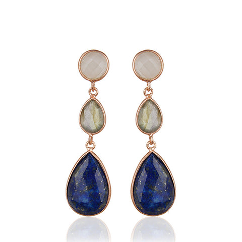 Three Gemstone Teardrop Earrings