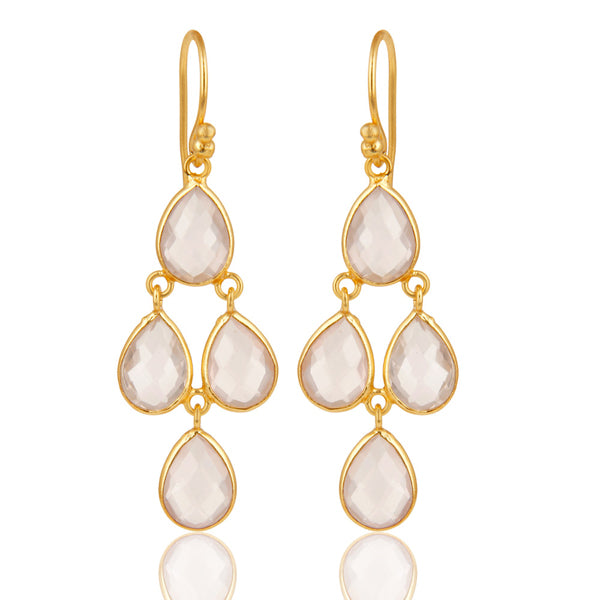 18K Gold Plated Sterling Silver Rose Quartz Bezel Set Dangle Earrings