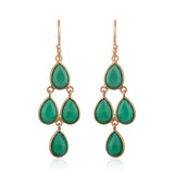 Green Onyx Pear Shape Chandelier Earrings in Rose Gold Finish