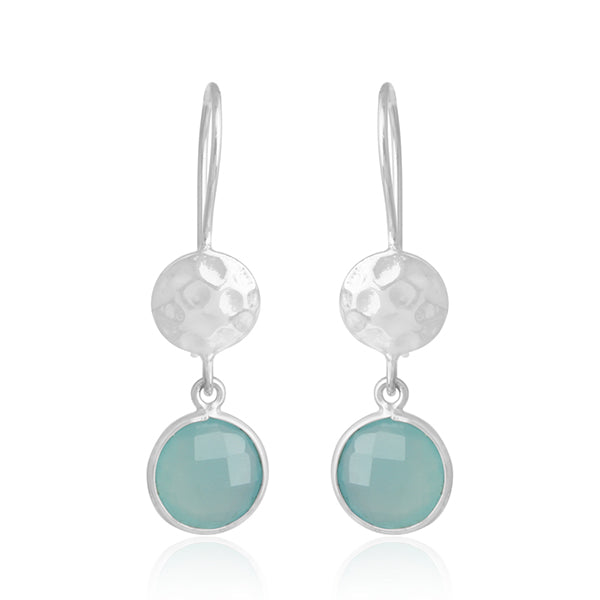 Disc and Drop Aqua Chalcedony Earrings in White Gold Finish