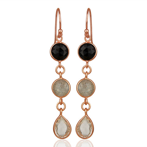 Long Multi Stone Dangle Earrings