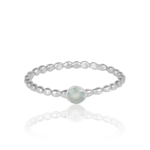 Textured Aqua Chalcedony Solitaire Ring