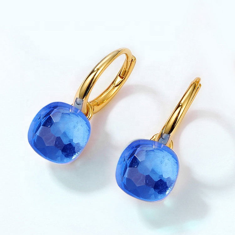 Crystal Gold Plated Silver Drop Earrings