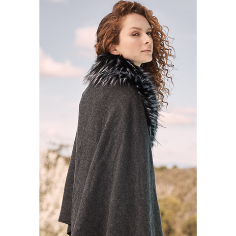 Shawl With Fur Lined Collar