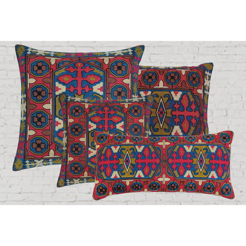Kilim Pattern Embroidered Crewel Stitch Cushion  - Melange Chic - 1