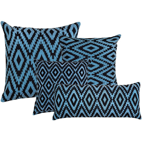 Ikat Pattern Black n Turkish Blue Embroidered Crewel Stitch Cushion  - Melange Chic - 1