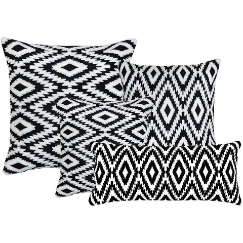 Ikat Pattern Black n White Embroidered Crewel Stitch Cushion  - Melange Chic - 1