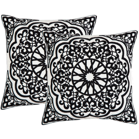 Medallion Black n White Crewel Stitch Cushion  - Melange Chic