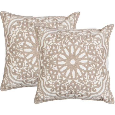 Medallion Champange n White Crewel Stitch Cushion  - Melange Chic