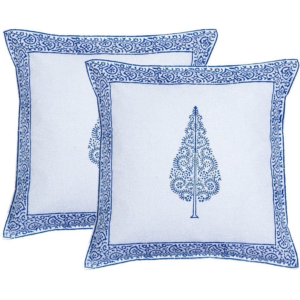 Cypress Inkblue Block Print Accent Cotton Throw Pillow  - Melange Chic