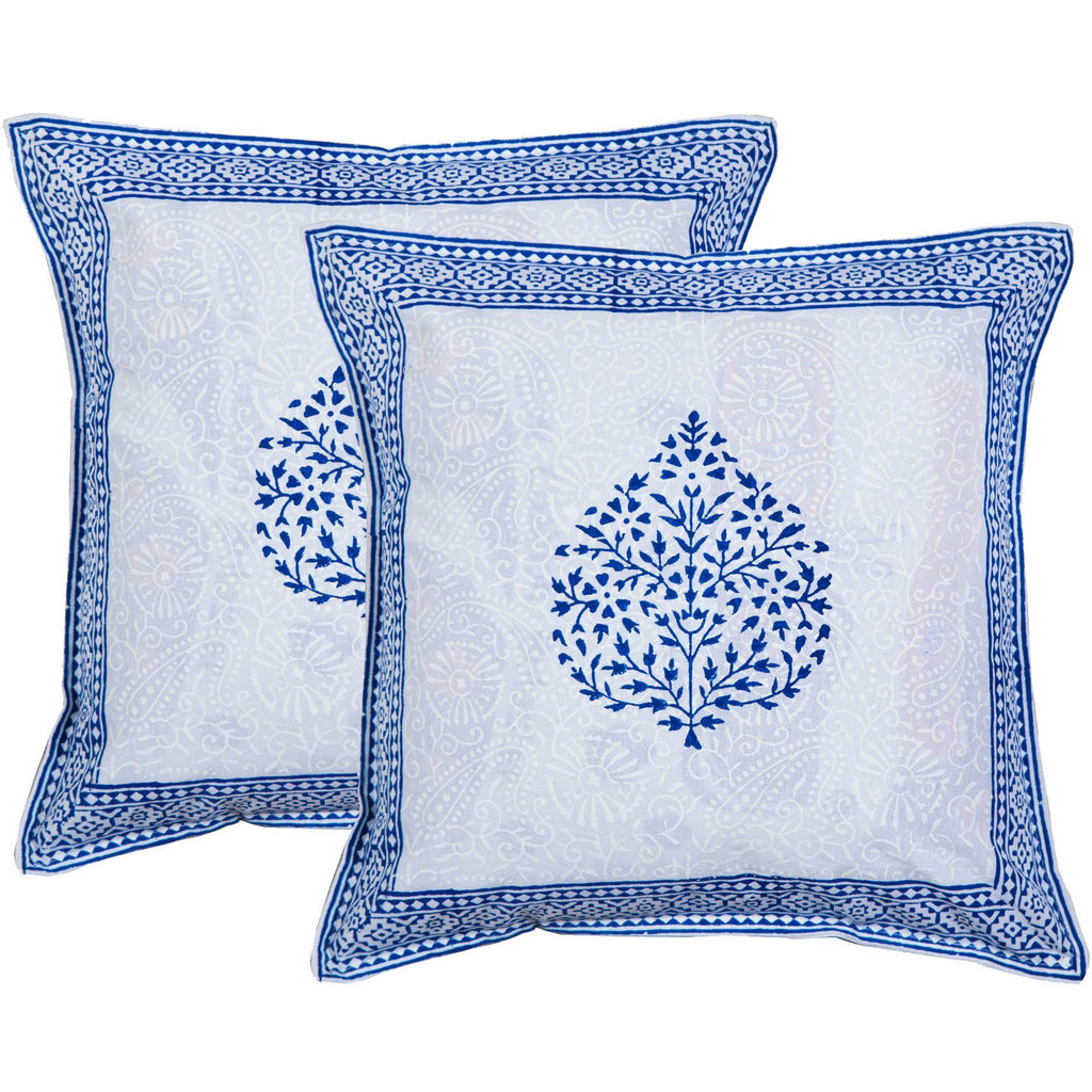 Blue Fern Leaf Block Print Accent Cotton Throw Pillow  - Melange Chic
