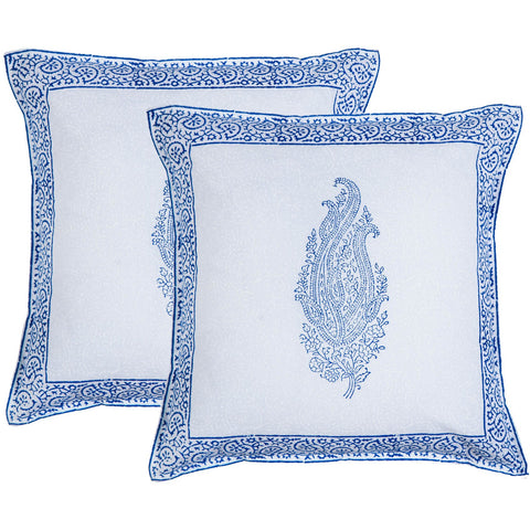 Blue Paisley Block Print Accent Cotton Throw Pillow  - Melange Chic