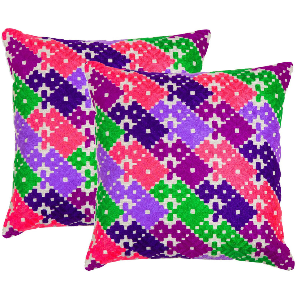 Geometric Multicolored Neon Embroidered Crewel Stitch Cushion  - Melange Chic